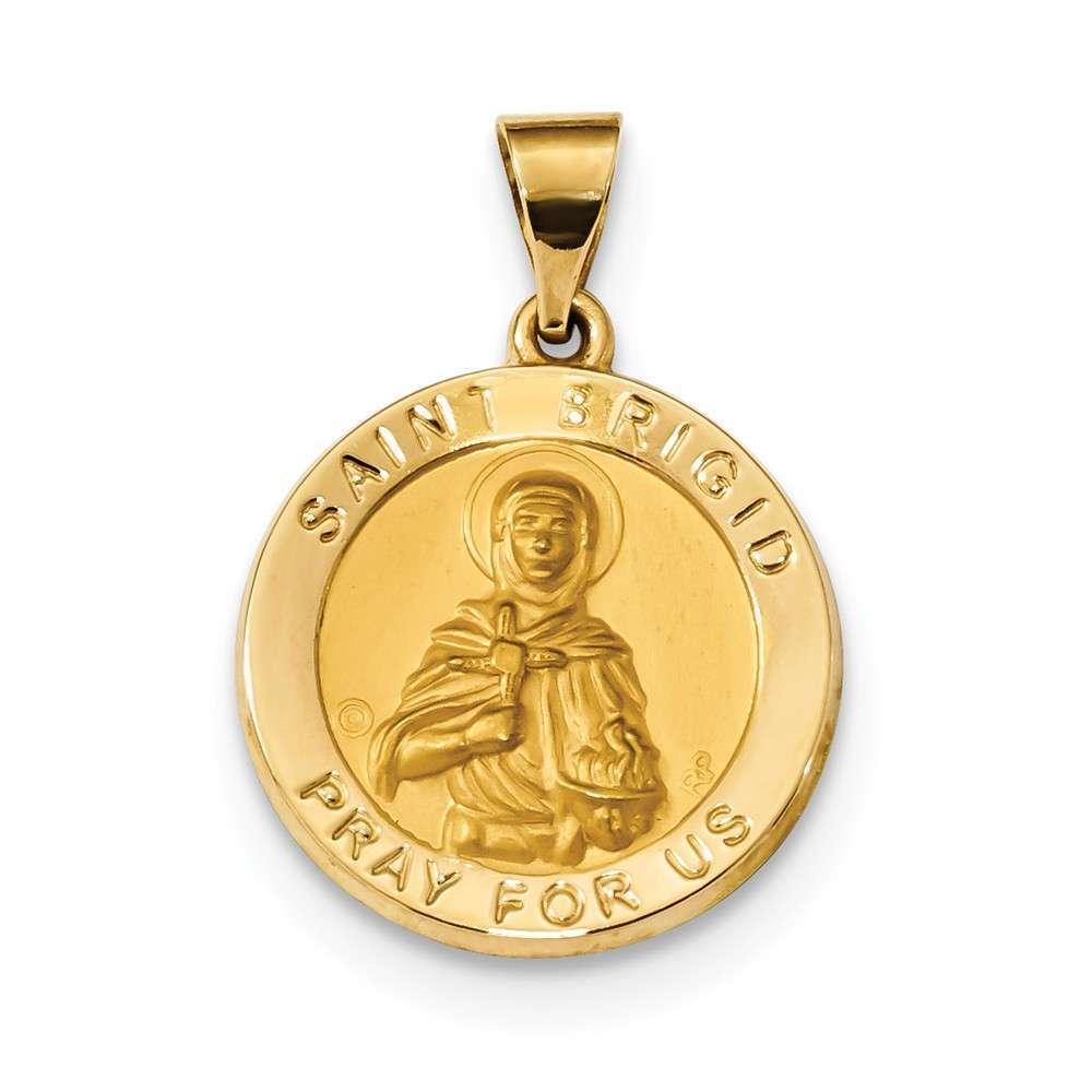 14K Yellow gold Polished & Satin St. Brigid Hollow Medal Pendant