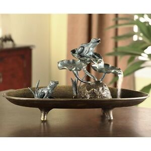 FROG-COUPLE-INDOOR-TABLE-FOUNTAIN-Lily-Pads-19-in-Whimsical-Patio-Verdi-Statue
