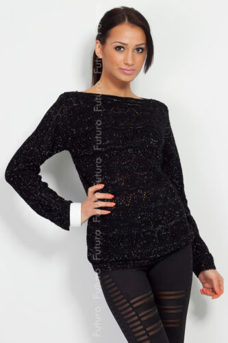 Womens Lovely Knitted Thick Heavy Jumper SELENE Cardigan Long Sleeve Boat Neck
