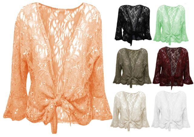 New Ladies Plus Size Tie Up 3/4 Sleeve Shrug Lace Sequin Bolero Top