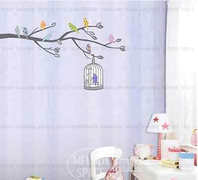 Colorful Birds And Cage Removable Art Decal Wall Stickers Mural Home Decor