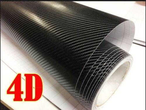 "GB 4D Carbon Fiber BLACK Vinyl 12/"" x 60/"" Vehicle Wrapping Sticker Sheet AIR FREE"