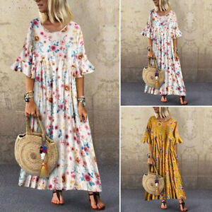ZANZEA-Women-Round-Neck-Short-Sleeve-T-Shirt-Floral-Print-Long-Shirt-Dress-Plus