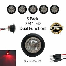 "3/4"" Round Clear Red LED Dual Function Clearance Turn Marker LIFETIME WARRANTY"