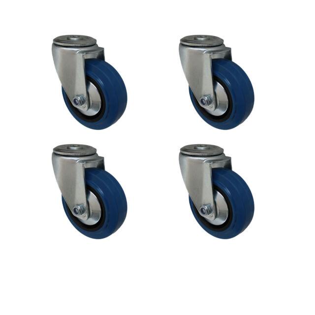 Blue Wheels 80 mm Rückenloch Lenkrolle mit Bremse Rolle Rad