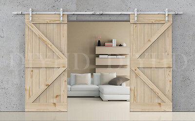 13FT White double sliding barn door hardware rustic barn sliding track