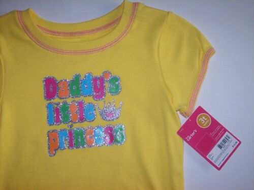 Carter/'s Shirt Size Toddler Yellow Daddy/'s Little Princess Glitter Crown NWT