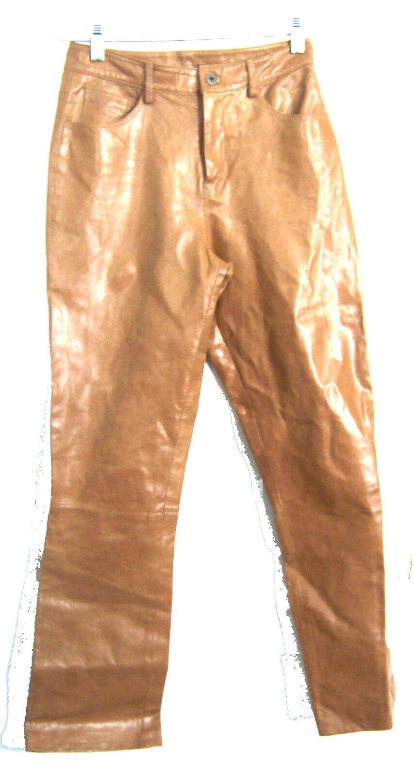 Sz S - Camel Brown 100% Genuine Leather Pants