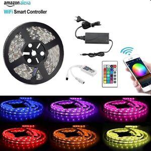 Wifi-Wireless-Led-Strip-5m-RGB-LED-Band-Lichtleiste-Streifen-Lampe-mit-Alexa-Set