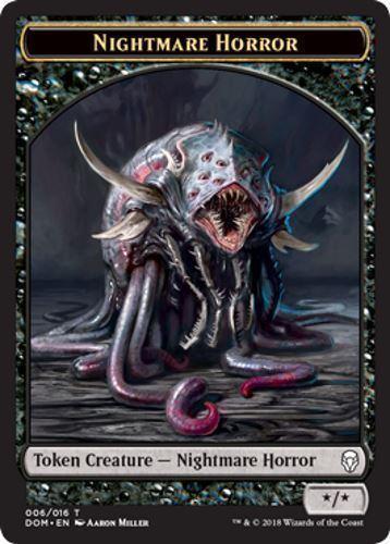 NIGHTMARE HORROR TOKEN NM mtg Dominaria Black Creature Token Com