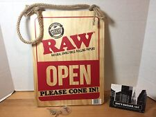 Raw Rolling Papers Please Cone Again Open Closed Sign Wooden with Hemp Rope