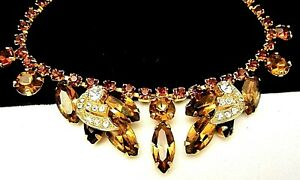 Rare-Vintage-16x1-034-Signed-Weiss-Goldtone-Amber-Clear-Rhinestone-Necklace-A55