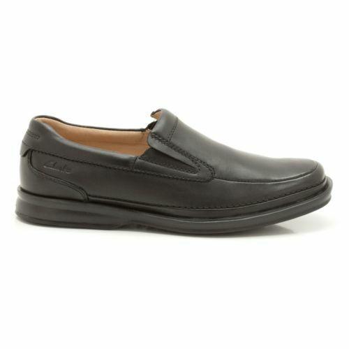Clarks Homme  Scopic Step-large fit noir en cuir-Slip-on  UK 11 H