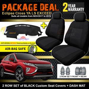 "Mitsubishi Eclipse Cross YA SEAT COVERS 2ROW + DASH MAT ""NOHUD"" 11/2017-19 BLACK"