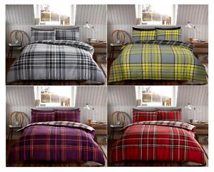 Brushed Cotton Tartan Check Warm Duvet Quilt Cover Bedding Sets Blue Red Grey