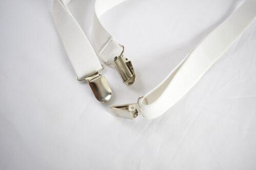 New Teenage BOYS White Elastic Solid 25mm Braces Suspenders  8-14 Years Old