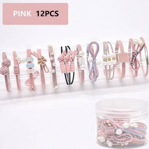 Korean Women Hair Tie Ponytail Holder Hair Rope Elastic Rubber Band 12Pcs//Set