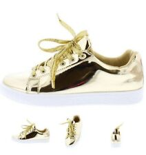 Mirror Metallic Leatherette Low Top Lace Up platform Sneaker Flats size 6-11 S19