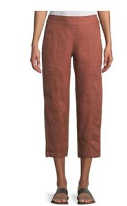 Eileen Fisher Russet Brown Linen Pull On Pocket Cropped