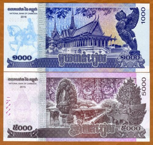 1000;5000 Riels 2017 P-New SET Cambodia UNC 2015-2016 King Father
