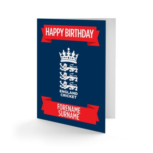 PERSONALISED England Cricket Birthday Christmas Fathers Day Card Any Name