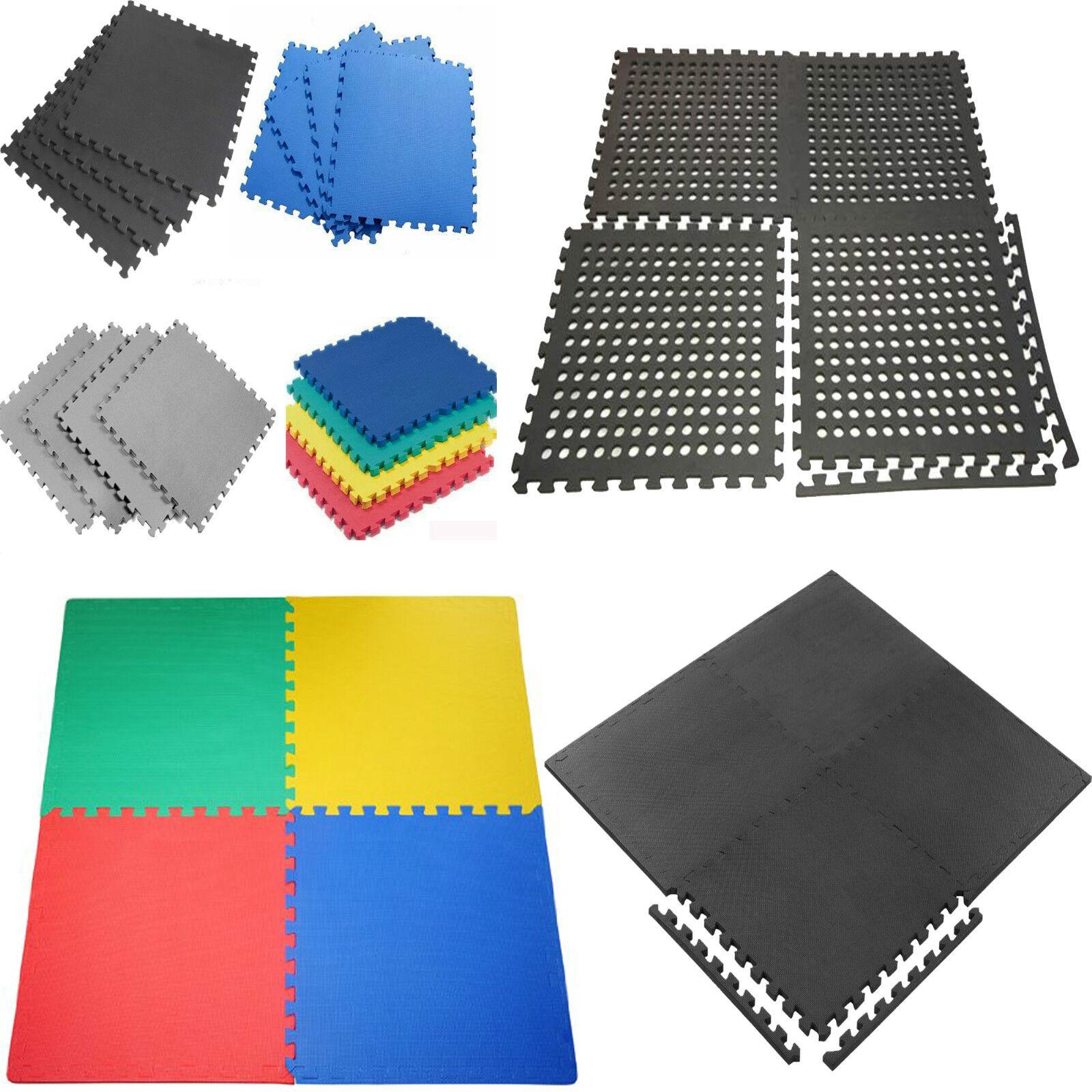 eva interlocking soft mats floor gym office garage foam kids play tiles w edges. Black Bedroom Furniture Sets. Home Design Ideas