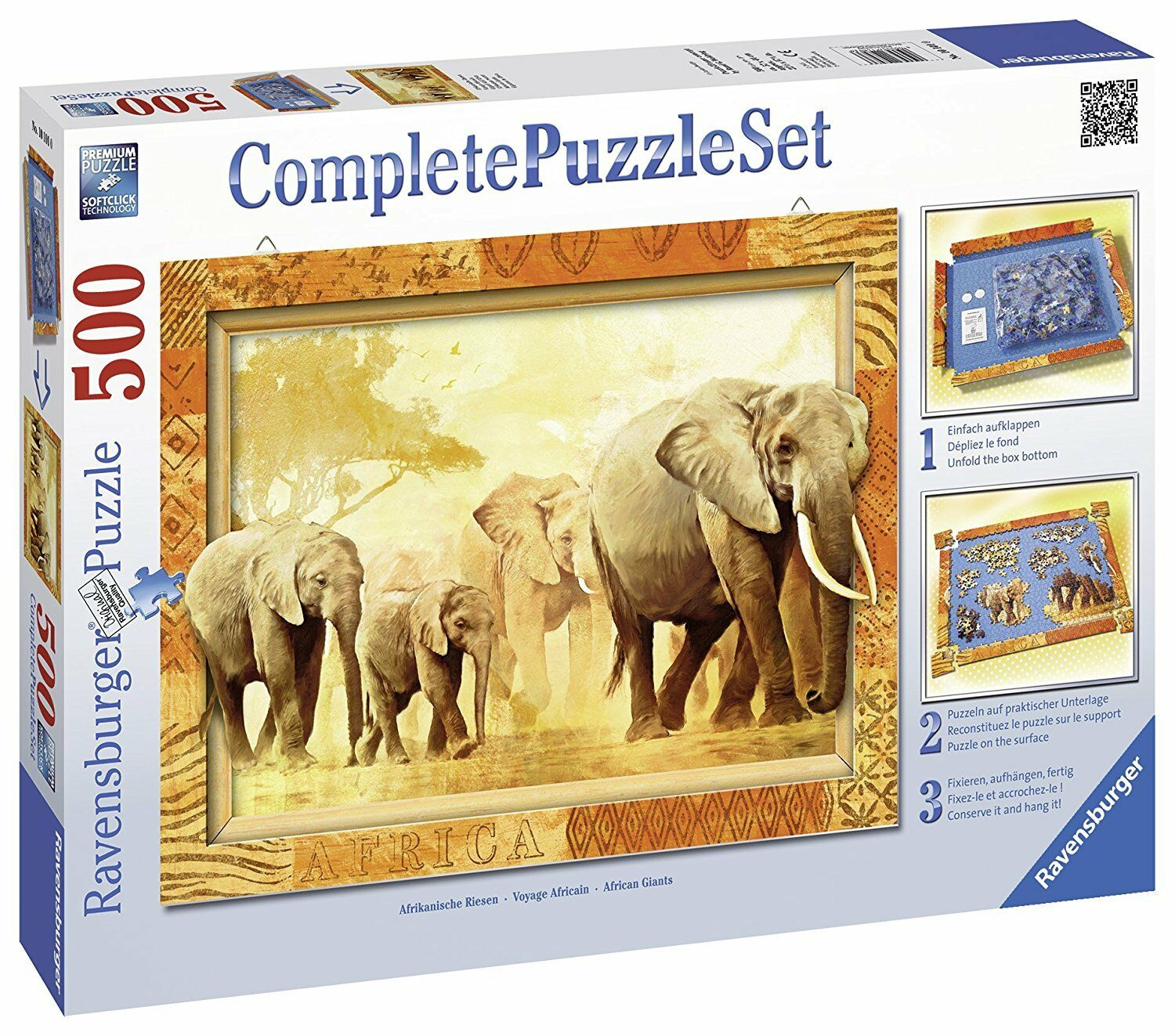 Ravensburger 14893. Set Complete puzzle with frame 500 PCs. Giant Africa