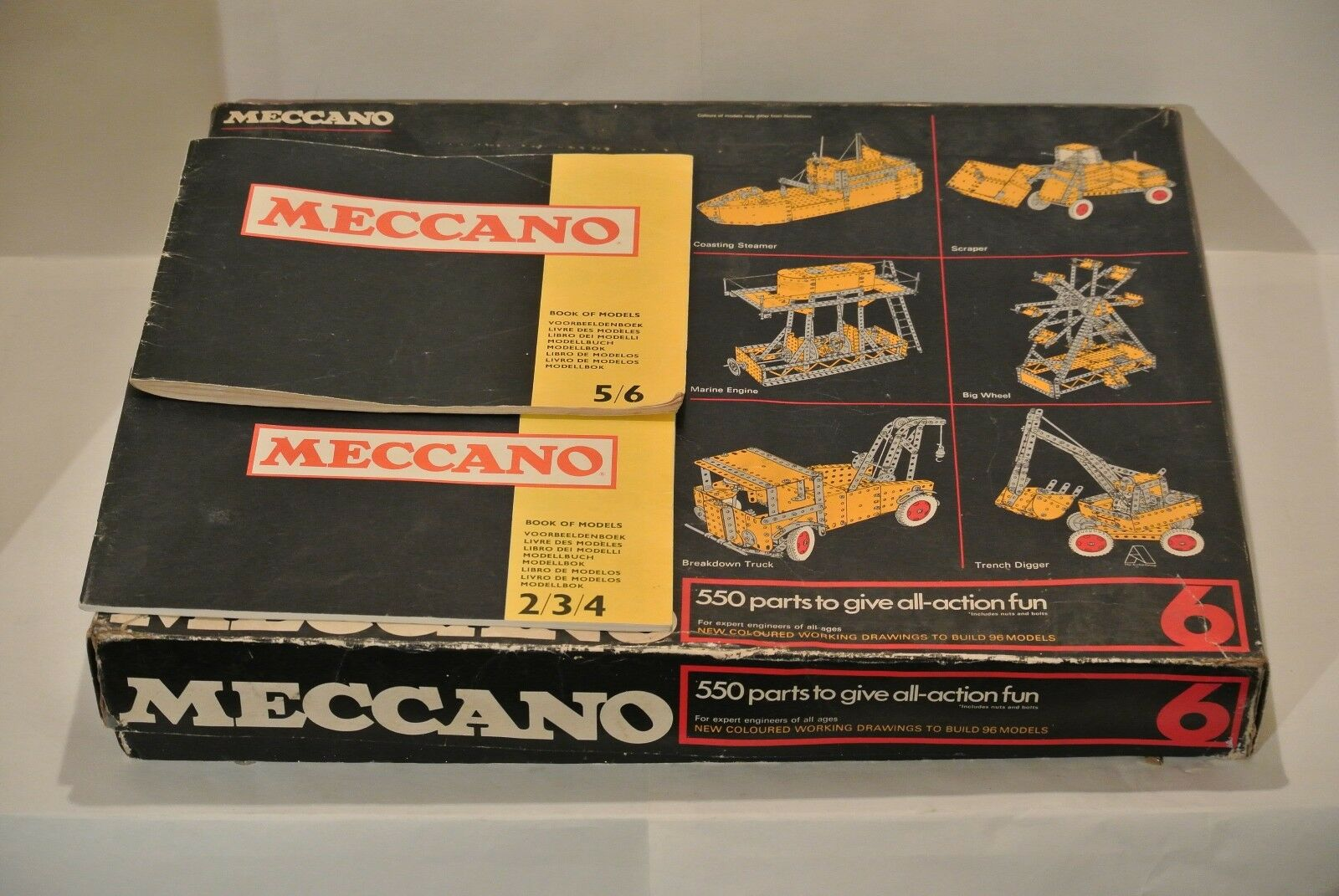 Meccano Set 6 1970's COMPLETE Great Cond, bluee Yellow, Manual 2-4,5-6  Parts 550