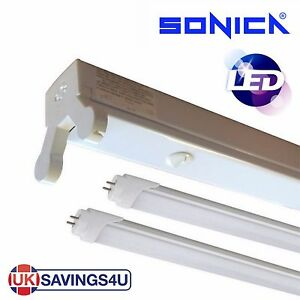 Details about Sonica Twin 5ft 1500mm LED Batten Fitting Double Tube Light  T8 Ceiling 22w