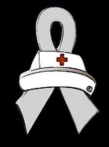 Brain-Cancer-Pin-Gray-Awareness-Ribbon-Nurse-Cap-Red-Cross-Nursing-Silver-Plated