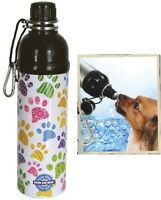 Pet Water Bottle - Puppy Paws Patten (24 Oz) - Dog Water Bottle