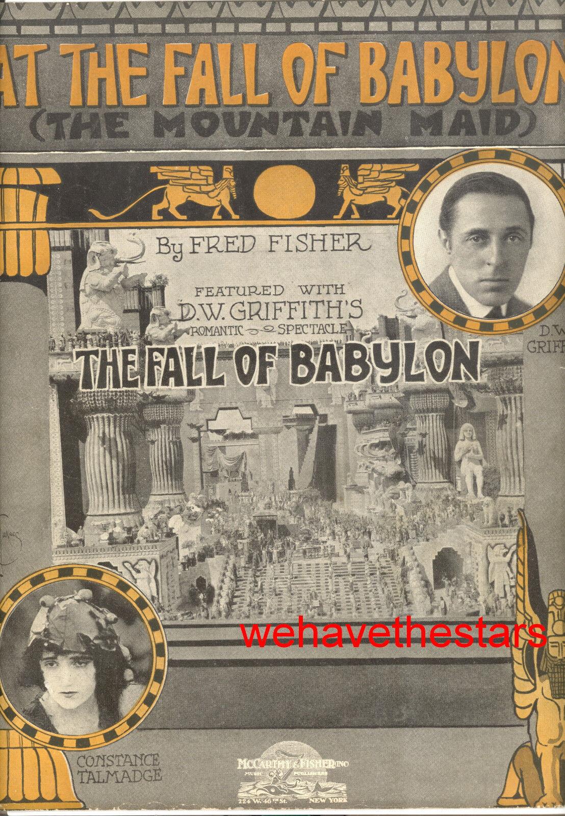 FALL OF BABYLON SheetMusic  At Fall Of Babylon  D.W. Griffith Constance Talmadge