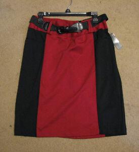 Women-039-s-14-Covington-red-black-skirt-with-belt-below-knee