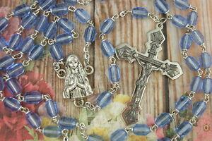 Catholic-Rosary-Sapphire-BLUE-5x7mm-Glass-Beads-Nice-Crucifix-amp-Center-medal-NOS