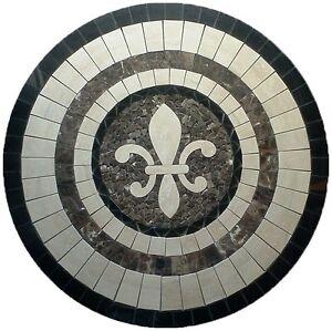 Details About Floor Marble Round Medallion Fleur De Lis Travertine Tile Mosaic 30 In