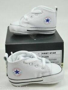 08ca6d58cbc832 Converse New Born Crib Booties Boys White Leather First All Star ...