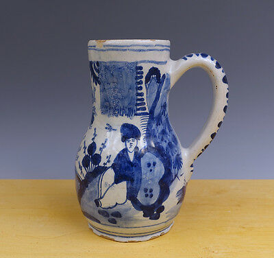 Antique Superb Dutch Delft Jug ''Chinoiserie'' Chineses 18TH C.