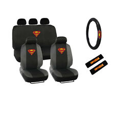 Item 7 New Marvel Superman Shield Car Front Back Seat Covers Steering Wheel Cover Set