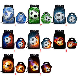 2PCS-Set-Kids-School-Bags-Football-Print-Backpack-Lunch-Tote-Travel-Rucksack-Bag