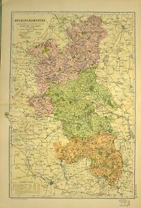 1902 Antik Landkarte Buckinghamshire Buckingham Winslow Aylesbury Wendover
