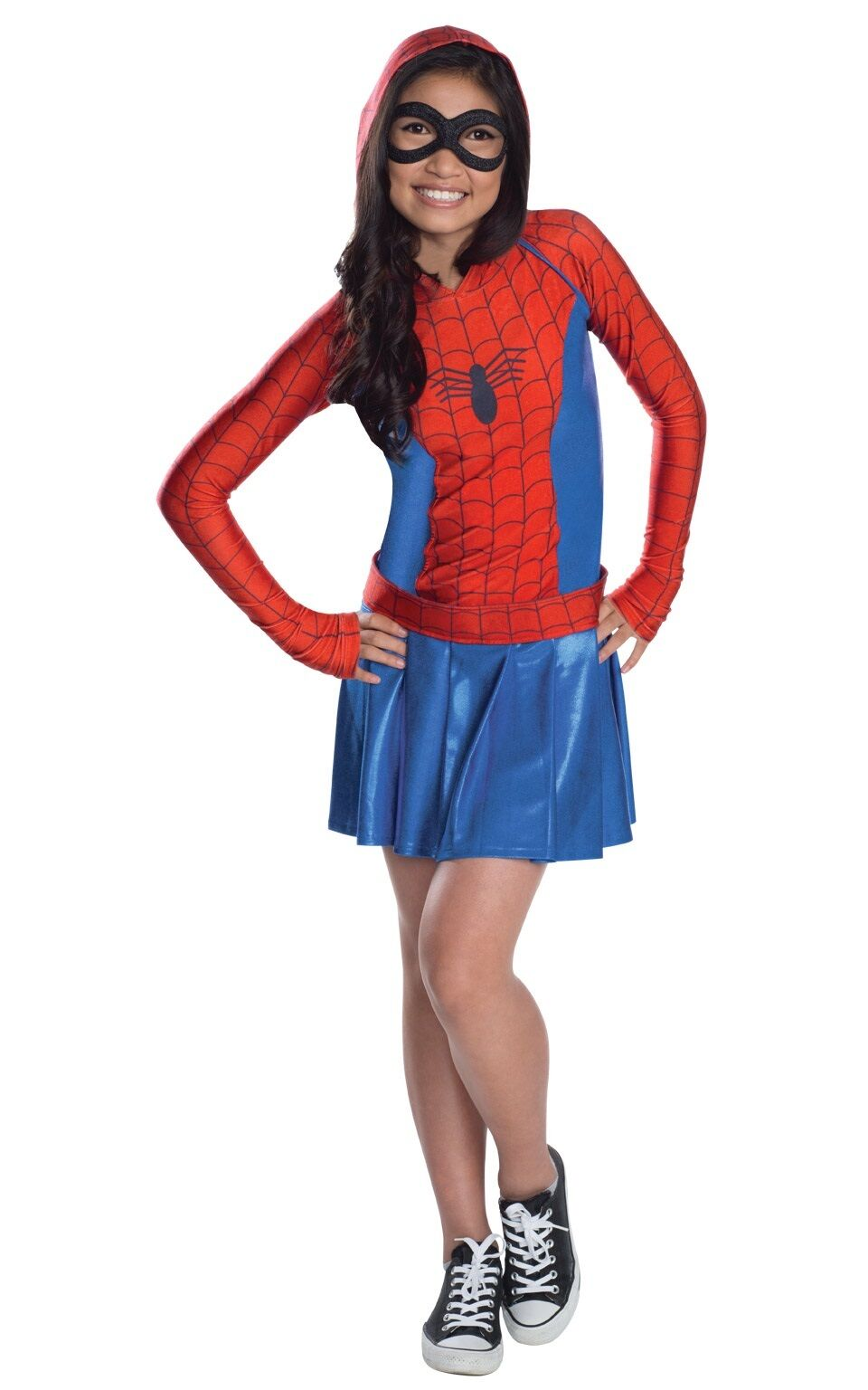 Childs Spider-Girl Hoodie Super Hero Dress Fancy Dress Outfit Age 5 - 12