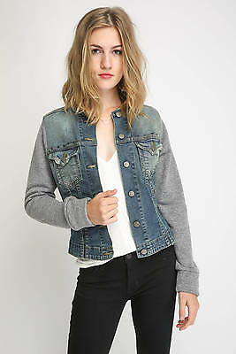 Nwt $198 Jet By John Eshaya Mixed Media Studded Denim Jean Jacket Sz Xs / S To Win A High Admiration And Is Widely Trusted At Home And Abroad.