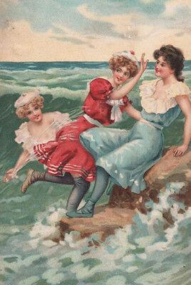 BATHING BEAUTIES Beauty FROLIC AT THE SEASHORE Ocean COLORFUL Postcard GEM!