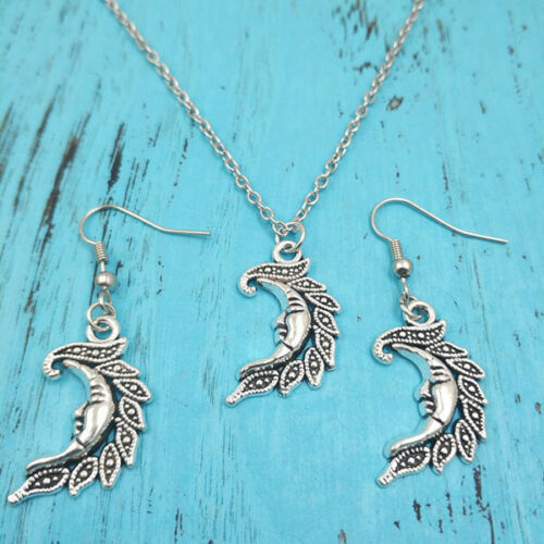 Moon's face Necklace earring pendants,Charm Silver jewelry sets Creative Gifts