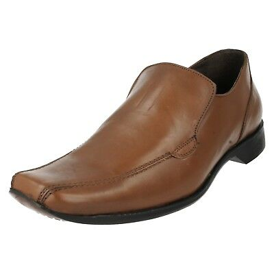 Hombre MAVERICK Sin Cordones Negro Liso Marrón Cuero zapatos elegantes formales