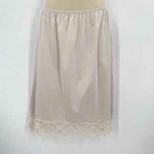 Vintage Vanity Fair Half Slip Womens Large Beige Lace 80s Nylon