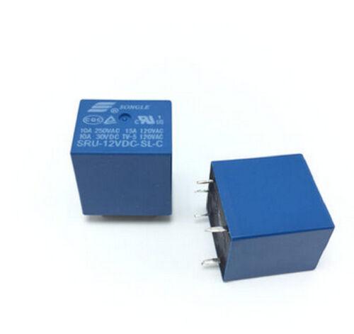 5PCS New Original SRU-12VDC-SL-C 10A 250VAC 30VDC SONGLE Power Relays 5-Pin