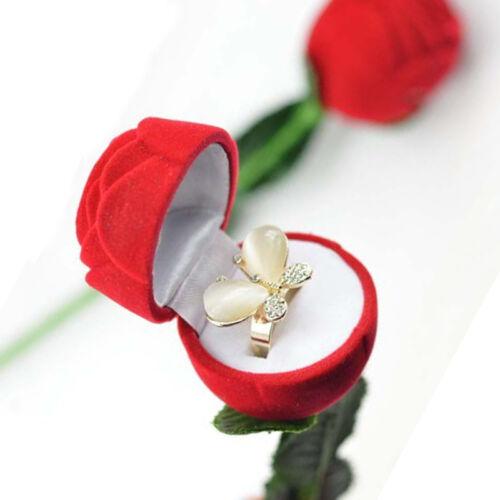 Red Rose Jewelry Box Wedding Ring Earrings Storage Display Holder Gift Box