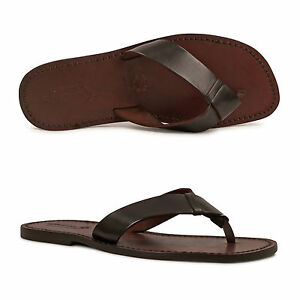 3b49f0b80 HANDMADE MENS LEATHER FLIP FLOPS IN DARK BROWN CUIR MAN MADE IN ...