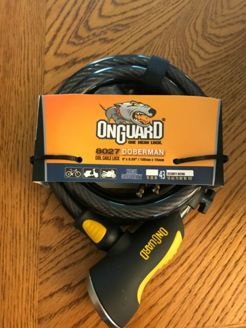 OnGuard Doberman Combo Cable Lock 6/' x 15mm Gray//Black//Yellow